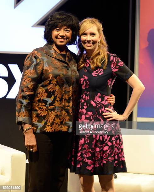 Cheryl Boone Isaacs President of the Academy of Motion Picture Arts and Sciences and writer Allison Schroeder pose onstage at 'A Conversation with...