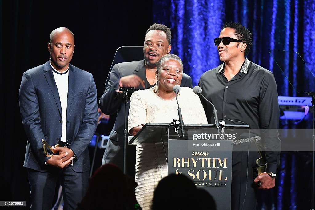 Cheryl Boyce-Taylor, mother of the late rapper Phife Dawg (at podium), with rappers (L-R) Ali Shaheed Muhammad, Jarobi White, and Q-Tip of A Tribe Called Quest accept the ASCAP Golden Note Award during the 2016 ASCAP Rhythm & Soul Awards at the Beverly Wilshire Four Seasons Hotel on June 23, 2016 in Beverly Hills, California.
