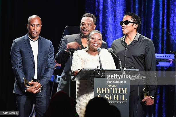 Cheryl BoyceTaylor mother of the late rapper Phife Dawg with rappers Ali Shaheed Muhammad Jarobi White and QTip of A Tribe Called Quest accept the...