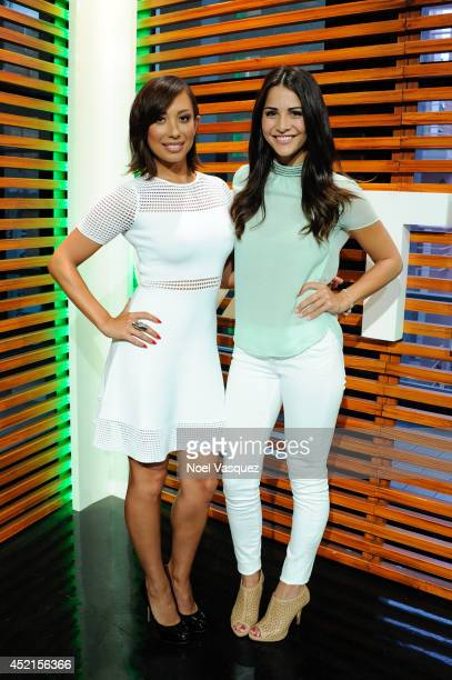 Cheryl Burke and Andi Dorfman visit Extra at Universal Studios Hollywood on July 14 2014 in Universal City California
