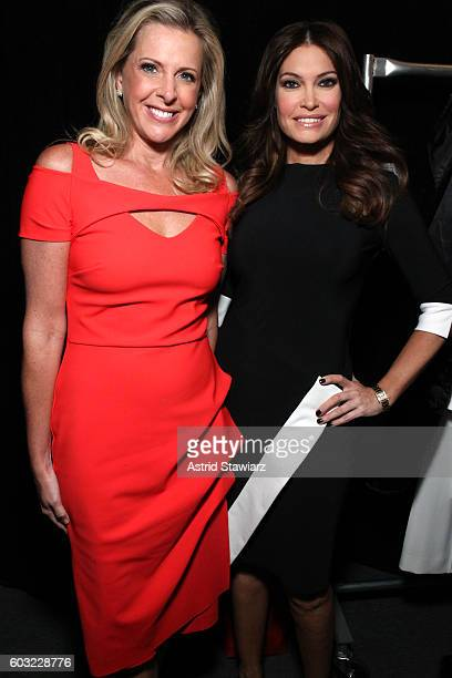 Cheryl Casone and Kimberly Guilfoyle pose backstage at the Taoray Wang fashion show during New York Fashion Week The Shows at The Dock Skylight at...
