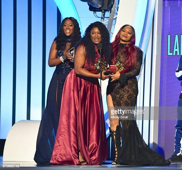 Cheryl 'Coko' Clemons Tamara 'Taj' JohnsonGeorge and Leanne 'Lelee' Lyons of SWV accept the Lady of Soul Award during the 2017 Soul Train Music...