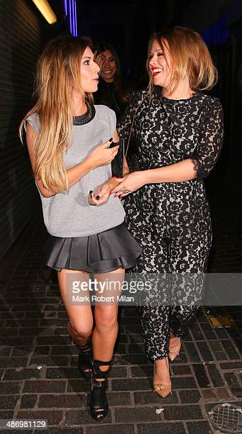 Cheryl Cole and Kimberley Walsh leaving the Box night club on April 26 2014 in London England