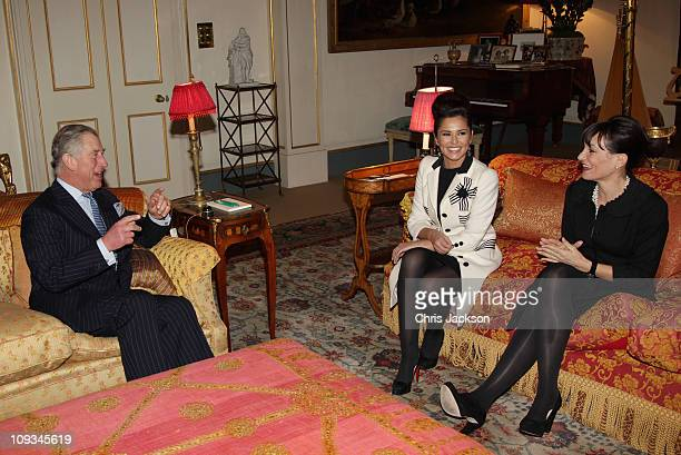 Cheryl Cole and Kristina Kyriacou Director of the Cheryl Cole Foundation meet Prince Charles Prince of Wales at Clarence House on February 22 2011 in...