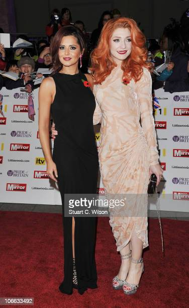 Cheryl Cole and Nicola Roberts arrive for the Pride of Britain Awards at the Grosvenor House Hotel on November 8 2010 in London England