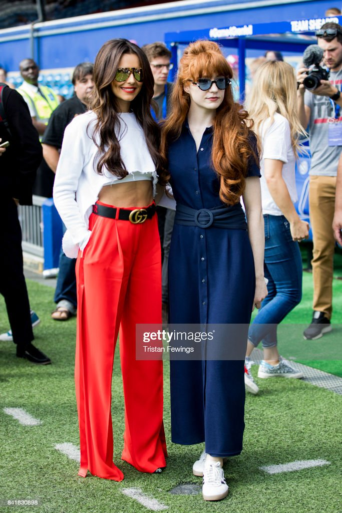 Cheryl Cole and Nicola Roberts attend the #GAME4GRENFELL at Loftus Road on September 2, 2017 in London, England. The charity football match has been set up to benefit those who were affected in the Grenfell Tower disaster.