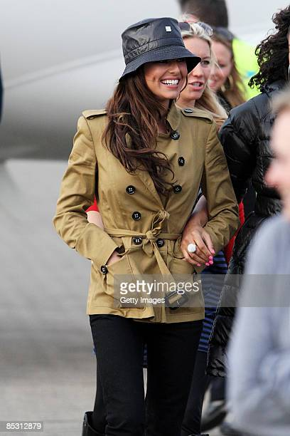 Cheryl Cole arrives back in the UK at RAF Northolt after climbing Mount Kilimanjaro in aid of Comic Relief on March 9 2009 in London England