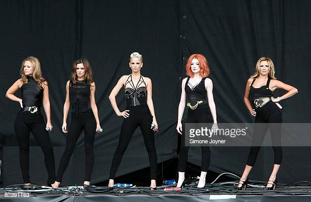 Cheryl Cole Nadine Coyle Nicola Roberts Kimberley Walsh and Sarah Harding of Girls Aloud perform live on the V stage during Day Two of V Festival...