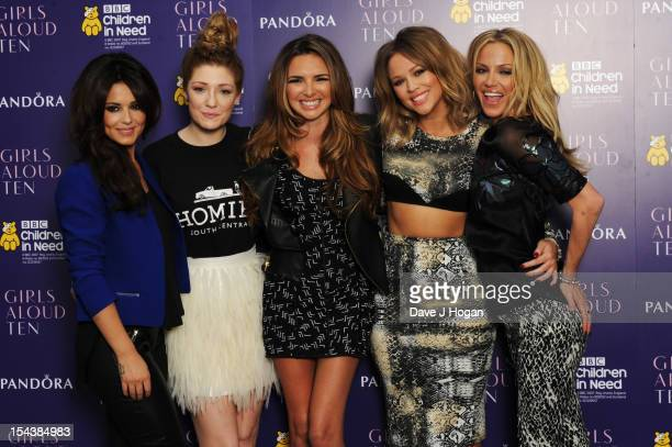 Cheryl Cole Nicola Roberts Nadine Coyle Kimberley Walsh and Sarah Harding of Girls Aloud pose at a press conference to announce 'Girls Aloud Ten The...
