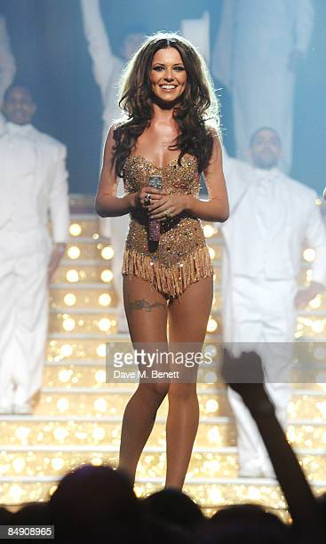Cheryl Cole of Girls Aloud performs on stage during The Brit Awards 2009 at Earls Court One on February 18 2009 in London England
