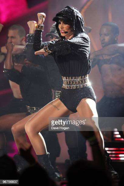 Cheryl Cole performs at The Brit Awards 2010 held at Earls Court on February 16 2010 in London England