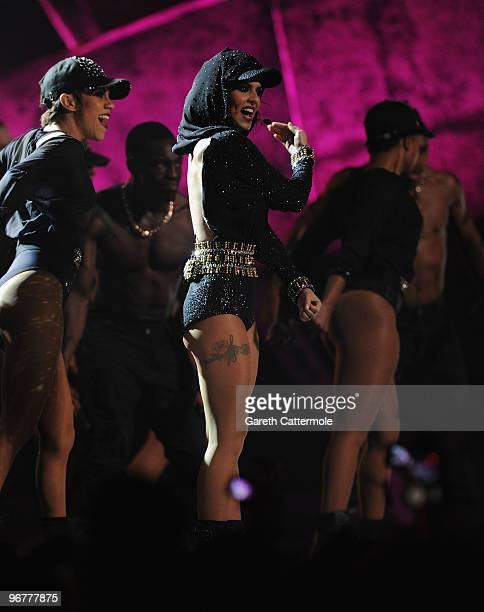 Cheryl Cole performs live on stage at The Brit Awards 2010 at Earls Court on February 16 2010 in London England