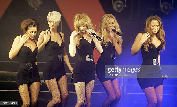 Cheryl Cole Sarah Harding Nicola Roberts Nadine Coyle Kimberley Walsh of Girls Aloud perform on stage at the GAY 15th Anniversary At The London...