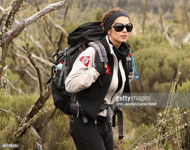Cheryl Cole treks on the second day of The BT Red Nose Climb of Kilimanjaro on March 3 2009 in Arusha Tanzania Celebrities Ronan Keating Gary Barlow...