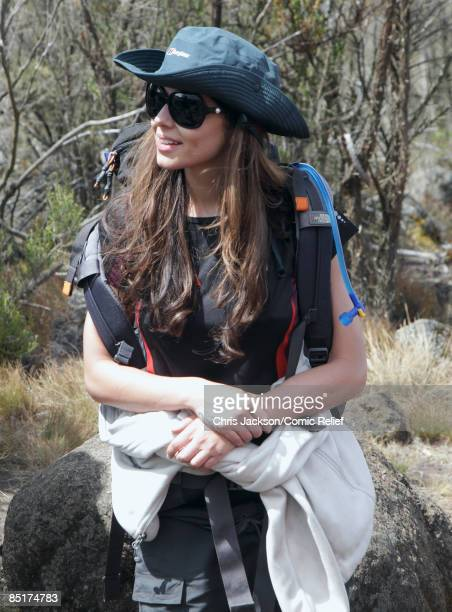 Cheryl Cole treks up Kilimanjaro on the second day of The BT Red Nose Climb of Kilimanjaro on March 1 2009 in Arusha Tanzania Celebrities Ronan...