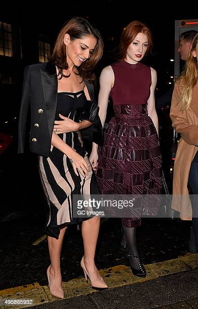 Cheryl FernandezVersini and Nicola Roberts arrive at The Dominion Theatre for Elf the musical gala night on November 5 2015 in London England