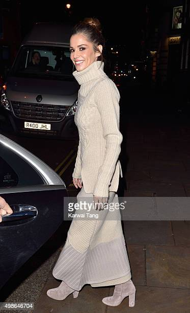 Cheryl FernandezVersini departs after attending the Quintessentially Foundation annual Christmas charity concert Fayre of St James at St James'...