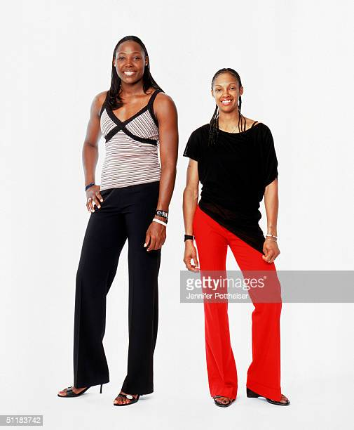 Cheryl Ford and Deanna Nolan of the Detroit Shock pose for a WNBA Portrait at Westin Hotel on August 4 2004 in New York New York NOTE TO USER User...
