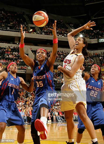 Cheryl Ford of the Detroit Shock battles Tammy SuttonBrown of the Indiana Fever during Game Three of the WNBA Eastern Conference Finals at Conseco...