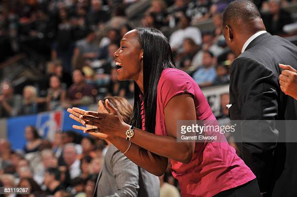 Cheryl Ford of the Detroit Shock cheers against the San Antonio Silver Stars during Game Two of the WNBA Finals on October 3 2008 at ATT Center in...