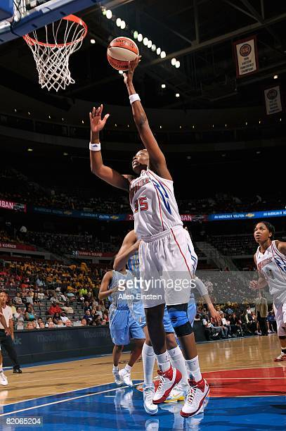 Cheryl Ford of the Detroit Shock lays up a shot against the Chicago Sky during the WNBA game on July 16 2008 at The Palace of Auburn Hills in Auburn...