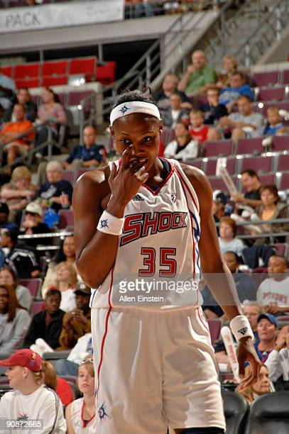 Cheryl Ford of the Detroit Shock looks on during a game against the Atlanta Dream in Game One of the WNBA Eastern Conference SemiFinals on September...