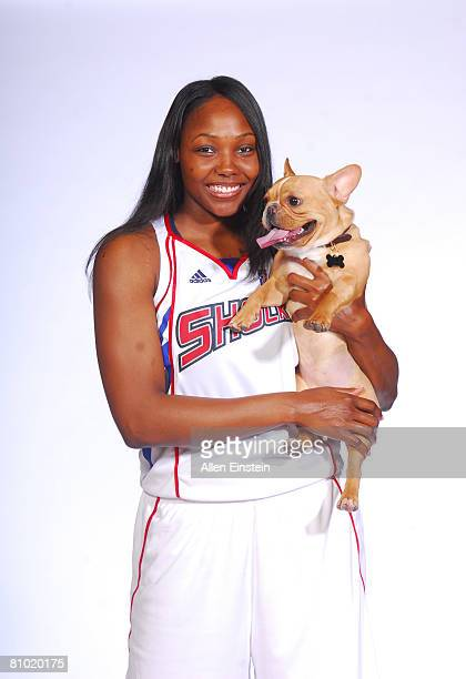 Cheryl Ford of the Detroit Shock poses with her dog during the 2008 Detroit Shock Media Day at the Palace of Auburn Hills on May 7 2008 in Auburn...