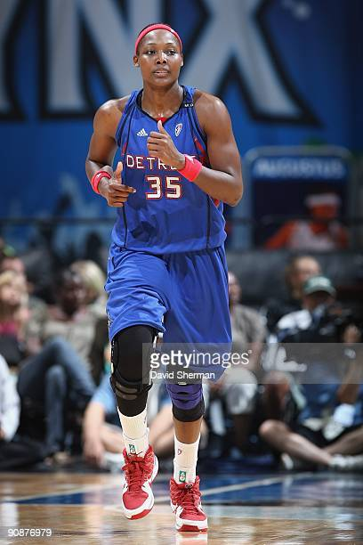 Cheryl Ford of the Detroit Shock runs down the court during the game against the Minnesota Lynx on September 9 2009 at the Target Center in...