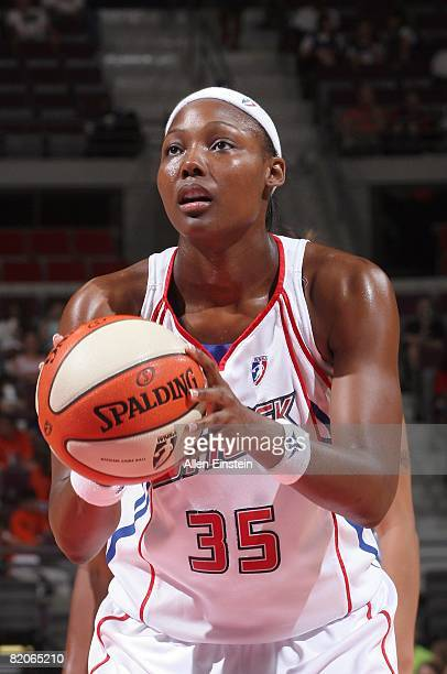 Cheryl Ford of the Detroit Shock shoots a free throw against the Chicago Sky during the WNBA game on July 16 2008 at The Palace of Auburn Hills in...