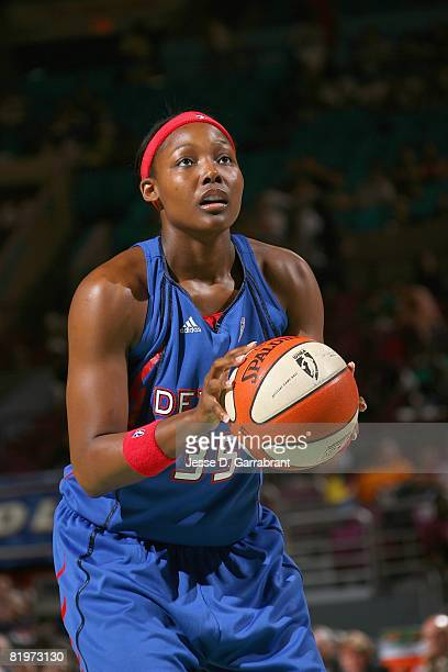 Cheryl Ford of the Detroit Shock shoots a free throw during the game against the New York Liberty on July 12 2008 at Madison Square Garden in New...