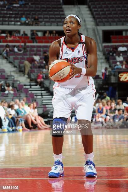 Cheryl Ford of the Detroit Shock shoots a free throw during the WNBA game against the Indiana Fever on June 19 2009 at The Palace of Auburn Hills in...