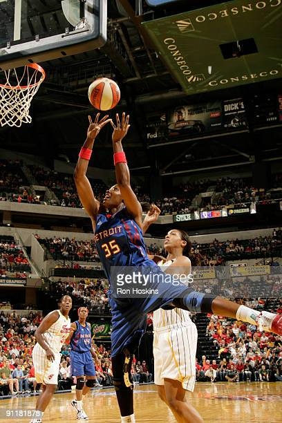 Cheryl Ford of the Detroit Shock shoots over Tammy SuttonBrown of the Indiana Fever during Game Three of the Eastern Conference Finals at Conseco...