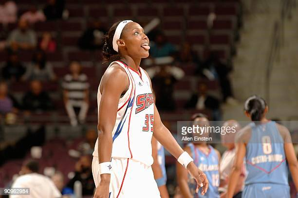 Cheryl Ford of the Detroit Shock walks across the court in Game one of the Eastern Conference Semifinals against the Atlanta Dream during the 2009...