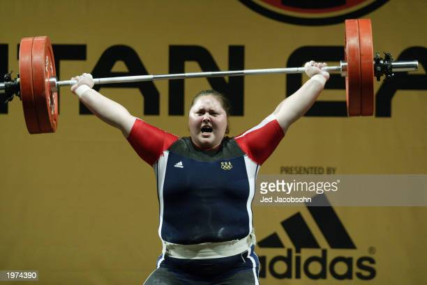 Cheryl Haworth of the USA attempts a lift during the weightlifting portion of the Titan Games at the Events Center at San Jose State on Febraury 14,...