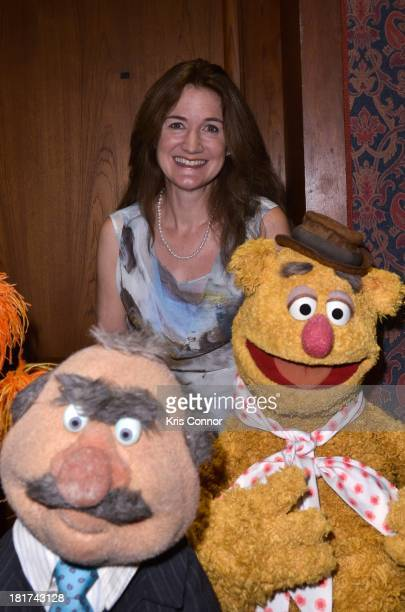 Cheryl Henson speaks during a ceremony as more than 20 puppets and props are donated by the Jim Henson Family including Miss Piggy Elmo Ernie Bert...