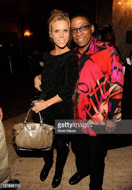 Cheryl Hines and Herbie Hancock backstage during STING: 25th Anniversary/60th Birthday Concert to Benefit Robin Hood Foundation at Beacon Theatre on...