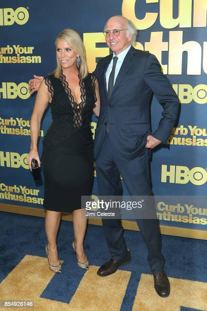 Cheryl Hines and Larry David attend the Curb Your Enthusiasm Season 9 premiere at SVA Theater on September 27 2017 in New York City