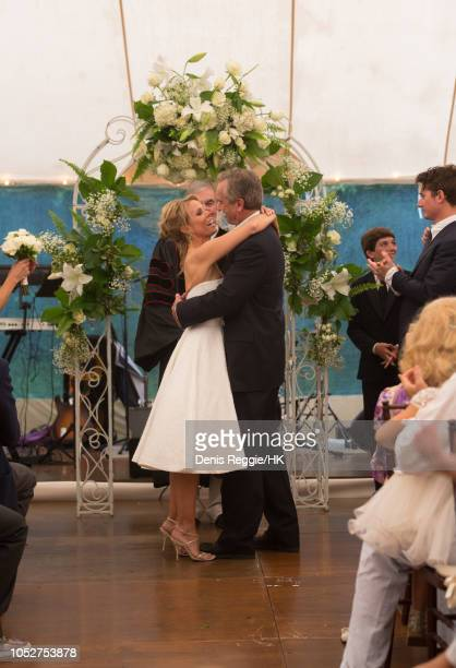 Cheryl Hines and Robert F Kennedy Jr Wedding at a private home on Saturday August 2 in Hyannis Port Massachusetts United StatesHines wore a strapless...