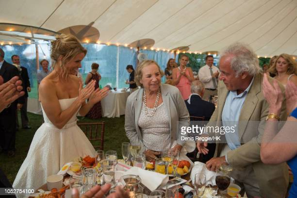 Cheryl Hines Ethel Kennedy and Andy Karsch attend the Cheryl Hines and Robert F Kennedy Jr Wedding at a private home on Saturday August 2 in Hyannis...