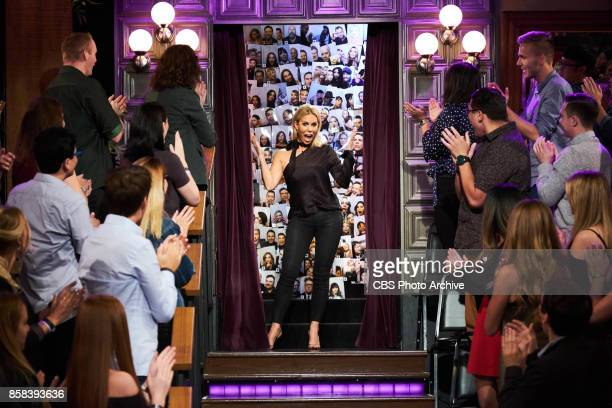 Cheryl Hines greets the audience during 'The Late Late Show with James Corden' Wednesday October 4 2017 On The CBS Television Network