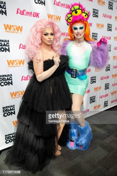 Cheryl Hole and Blu Hydrangea attend RuPaul's DragCon 2019 at The Jacob K Javits Convention Center on September 08 2019 in New York City