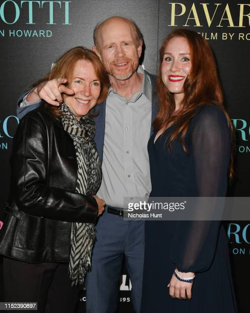 Cheryl Howard Ron Howard and Paige Howard attend the Pavarotti New York Screening at iPic Theater on May 28 2019 in New York City