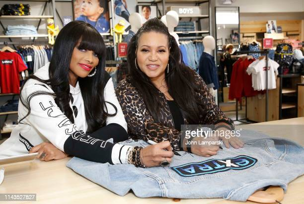 Cheryl James Salt and Sandra Denton Pepa of Salt n Peppa visit Extra at The Levi's Store Times Square on April 18 2019 in New York City