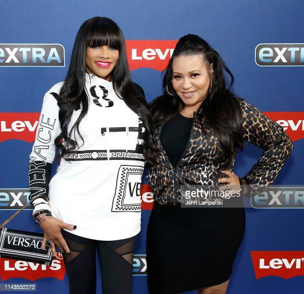 """Cheryl James """"Salt"""" and Sandra Denton"""" Pepa"""" of Salt n Peppa visit """"Extra"""" at The Levi's Store Times Square on April 18, 2019 in New York City."""