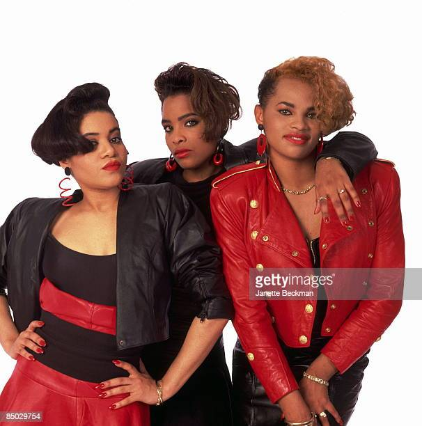 Cheryl James Sandra Denton and Deidra Roper of the rap group 'Salt 'N Pepa' pose for a portrait in circa 1987
