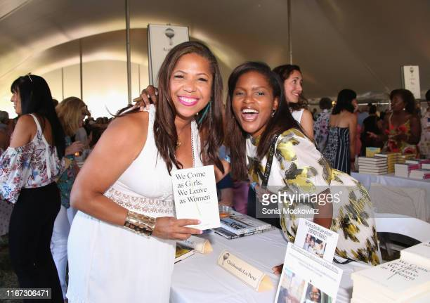 Cheryl Joyner and Chrishaunda Lee Perez at the East Hampton Library's 15th Annual Authors Night Benefit on August 10 2019 in Amagansett New York