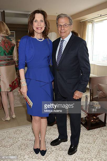 """Cheryl Lefkovits and Dr. Samuel Waxman attend the 2015 Samuel Waxman Cancer Research Foundation's """"Collaborating for a Cure High Tea"""" at a Private..."""