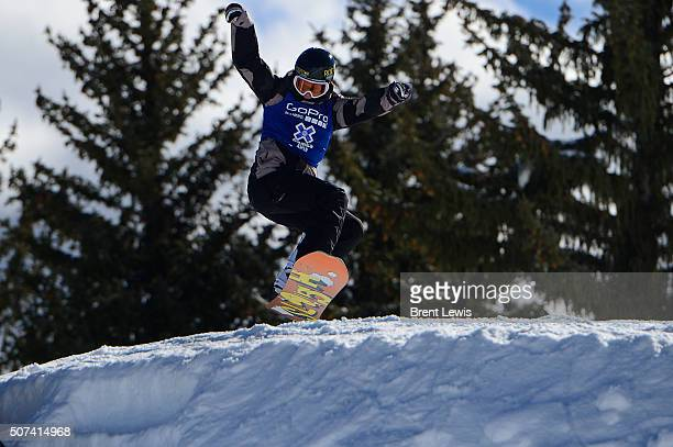 Cheryl Maas lands from the third jump of her third run during the Women's Snowboard Slopestyle Finals at Winter X Games 2016 at Buttermilk Mountain...