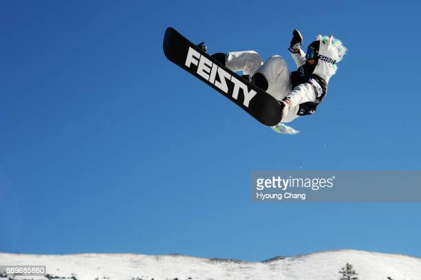Cheryl Maas of Nederland in action during women's final of snowboard Big Air of Toyota US Grand Prix at Copper Mountain on December 10 2017 Maas...