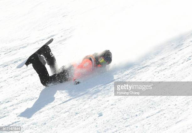 Cheryl Maas of Nederland lost control because of the weather condition during the Snowboard Ladies' Slopestyle Final on day three of the PyeongChang...